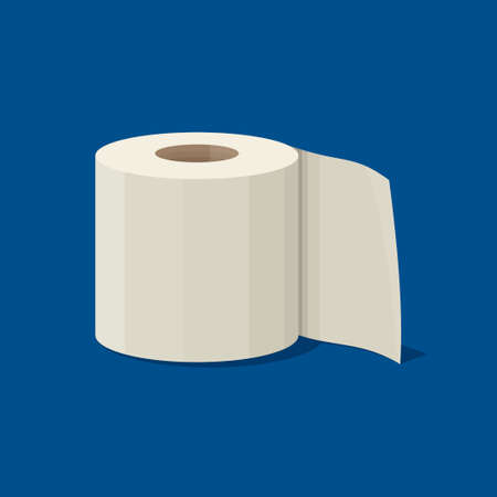 Roll of toilet paper icon in flat style isolated on blue background. Vector illustration