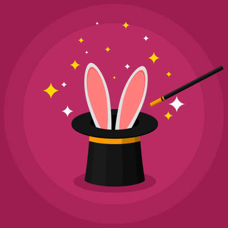 Magic top hat with rabbit ears and a wand, magician shows a trick. Entertainment party or beautiful circus show concept. Vector illustration Ilustracja