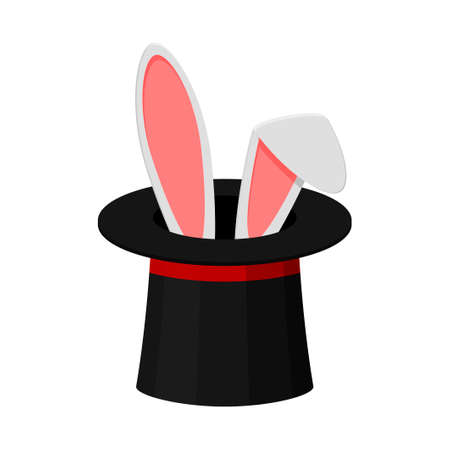 Magic top hat with rabbit ears isolated on white background, magician shows a trick. Entertainment party or beautiful circus show concept. Vector illustration