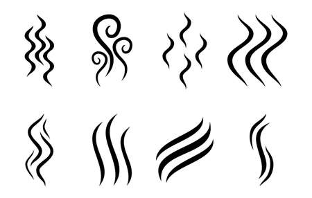 Aromas vaporize icons isolated on white background. Smells line icon set, hot aroma, stink or cooking steam symbols, smelling or vapor, smoking or odors signs. Vector illustration