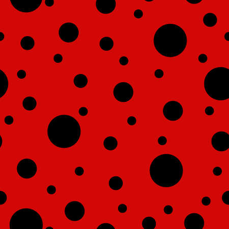 Ladybug seamless pattern with red background and black spots. Vector illustrtaion