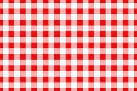 Red traditional gingham seamless pattern. Texture from rhombus or squares for - plaid, tablecloths, clothes, shirts, dresses, paper, bedding, blankets, quilts and other textile products. Vector