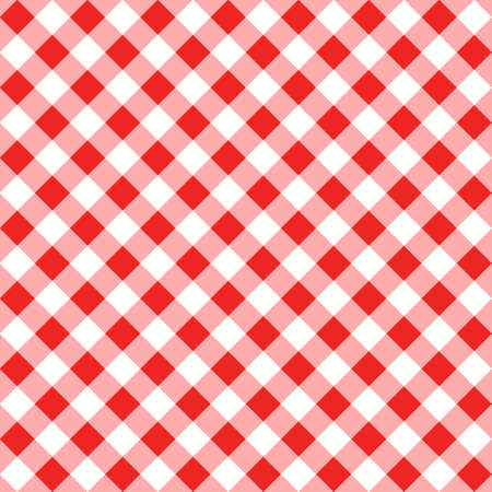 Diagonal red traditional gingham seamless pattern. Texture from rhombus or squares for - plaid, tablecloths, clothes, shirts, dresses, paper, bedding, blankets, quilts and other textile products.