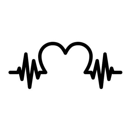 Black heartbeat icon isolated on white background. Pulse with heart shape. Vector illustration Ilustracja