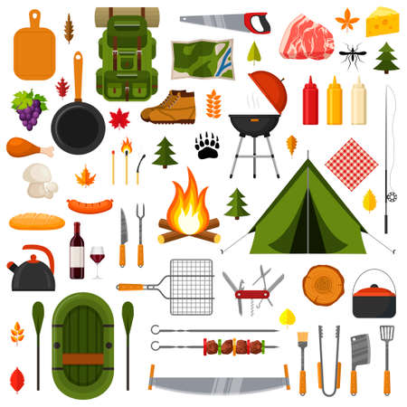 Camping and hiking elements. Forest hike icon set. Camp gear backpacker collection tourist tent, backpack, food, barbecue, boat, shoes, campfire and other camping equipment. Wanderlust scout adventure