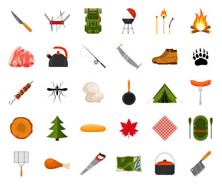 Camping and hiking icon set. Forest hike elements. Camp gear backpacker collection tourist tent, backpack, food, barbecue, boat, shoes, campfire and other camping equipment. Wanderlust scout adventure Ilustracja