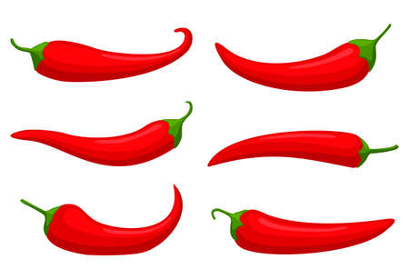 Hot red Chilly peppers set isolated on white background, cartoon mexican chilli, paprika icon signs. Spicy food symbols, cayenne peppers. Vector illustration