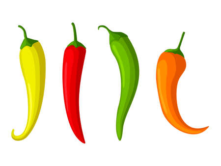 Hot red, yellow and green Chilly peppers set isolated on white background, cartoon mexican chilli, paprika icon signs. Spicy food symbols, cayenne peppers. Vector illustration
