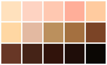 Human skin tones color palette set. Skin color from the lightest to darkest brown hues, coloring of a person face and body complexion. Vector illustration