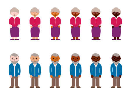 Grandmothers and grandfathers with different skin color. Old people or pensioners, Grandparents race diversity. Multinational vector illustration Ilustracja