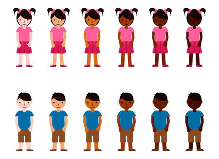 Girls and boys with different skin color. Young children race diversity. Multinational vector illustration