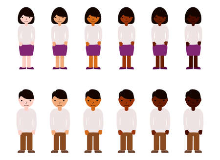 Women and men with different skin color. Adults people race diversity. Multinational vector illustration Illustration