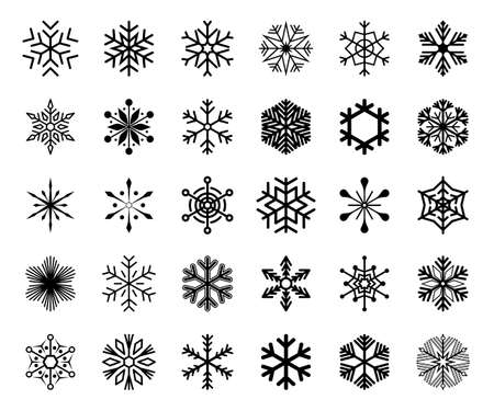 Big set of snowflake icons isolated on white background. Snow icons silhouette, winter, New year and Christmas decoration elements. Vector illustration