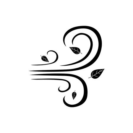Blowing wind with flying leaves black icon isolated on white background. Weather sign vector illustration