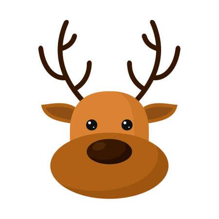 Cute deer head icon isolated on white background. Reindeer Christmas symbol, flat design template, Xmas deer. Vector illustration Illustration