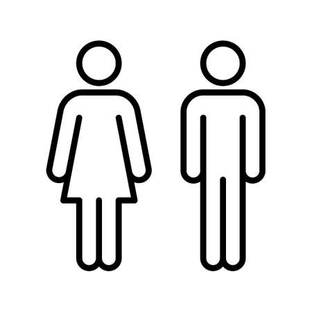 Woman and man sign line icon isolated o white background. Male and Female symbol. Vector illustration
