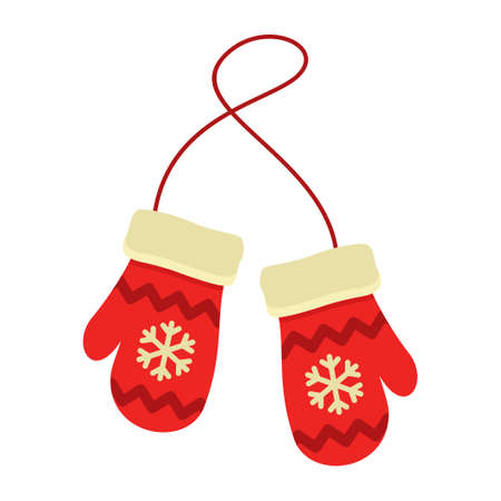 Red mittens with snowflakes isolated on white background. Winter gloves vector illustration