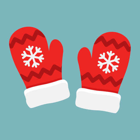 Red mittens Santa with snowflakes isolated on blue background. Winter Christmas gloves vector illustration