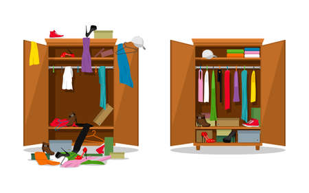 Before untidy and after tidy wardrobe. Woman clothings and shoes in mess and tidy organizing, opening dress closet with messy and organized clothes. Tidy and messy closet. Vector illustration Ilustracja