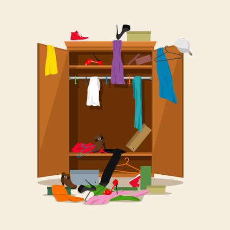 Open wardrobe with mess clothes. Closet with untidy clothes, dresses, shirts, boxes and shoes. Natural wooden Furniture. Vector illustration