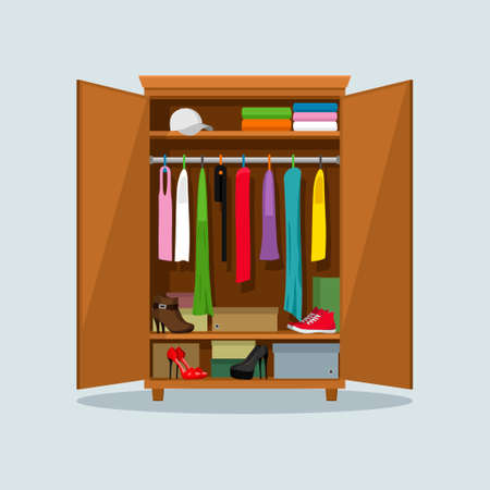 Open wardrobe with clothes. Closet with clothes, dresses, shirts, boxes and shoes. Natural wooden Furniture. Vector illustration Vetores