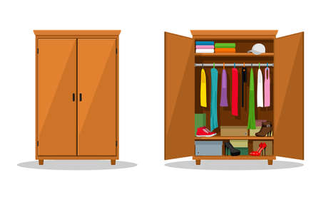 Open and close wardrobe with clothes. Closet with clothes, dresses, shirts, boxes and shoes. Natural wooden Furniture. Vector illustration