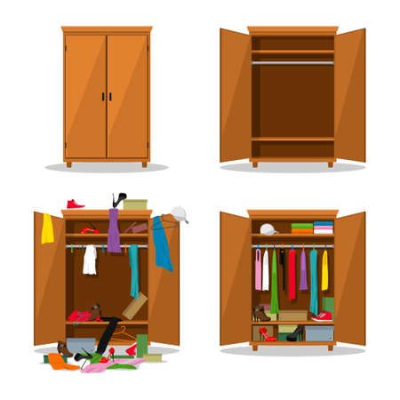 Close and open wardrobe set, before untidy and after tidy wardrobe with mess clothes. Closet with clothes, dresses, shirts, boxes and shoes. Natural wooden Furniture set. Vector illustration Ilustracja