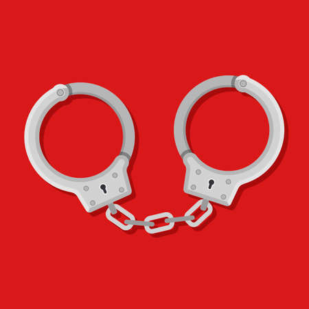 Metal handcuffs for detaining criminals on red background. Outfit of a policeman. Element of police and prison icon of arrest of offender. Restriction of freedom. Shackles for the hand. Vector Illustration