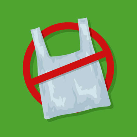 No plastic bags sign concept illustration. Stop pollution eco symbol icon, plastic bag ban forbidden trash. Polythene package prohibition sign. Vector illustration Ilustracja