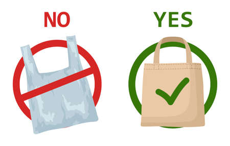 Pollution problem concept. Plastic bag and eco bag isolated on white background. Say no to plastic bags, bring your own textile bag. Signage calling for stop using disposable polythene package.