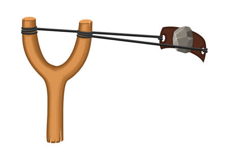 Wooden slingshot with stone isolated on a white background. Homemade slingshot wooden handle with rubber bands. Wooden catapult. Children toy for throwing stones. Vector illustartion