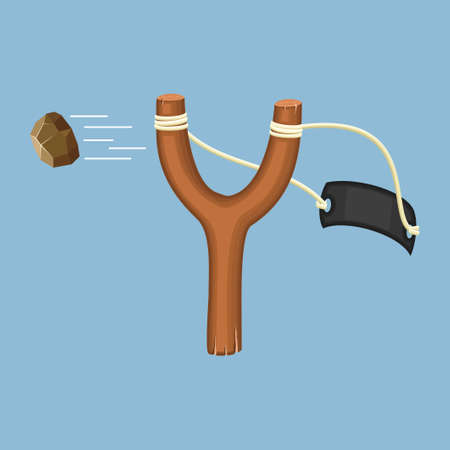 Wooden slingshot with flying stone isolated on a blue background. Homemade slingshot wooden handle with rubber bands. Wooden catapult. Children toy for throwing stones. Vector illustartion Ilustración de vector