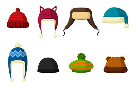 Winter hats set isolated on white background. Knitting headwear and caps for cold weather. Outdoor clothing. Vector illustration