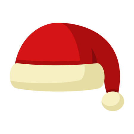 Winter Santa Claus hat icon isolated on white background. Knitting red headwear and cap for cold weather. Outdoor clothing. Vector illustration