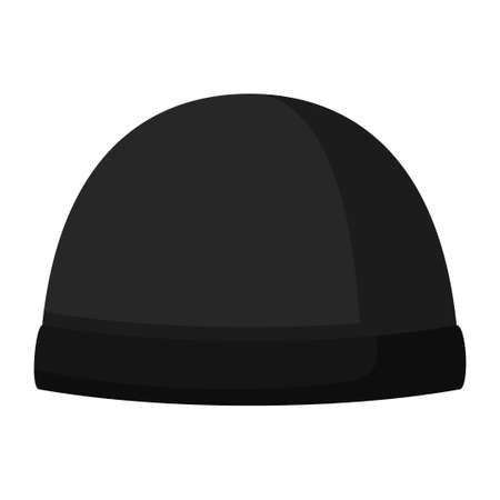 Winter hat icon isolated on white background. Knitting headwear and cap for cold weather. Outdoor clothing. Vector illustration