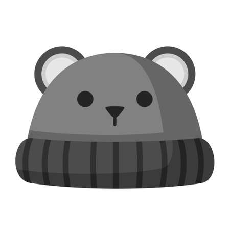 Winter hat with ears mouse or bear icon isolated on white background. Knitting headwear with two long ear flaps and cap for cold weather. Outdoor clothing. Vector illustration Ilustracja