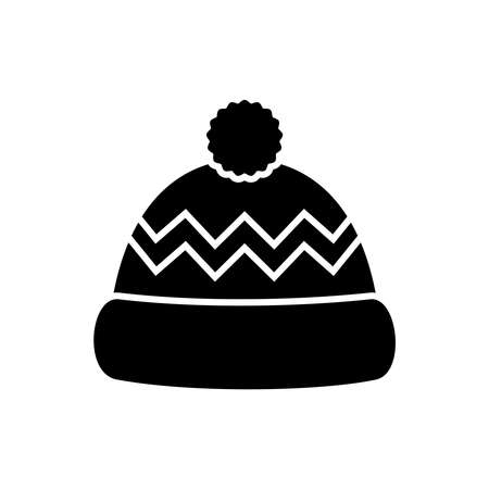 Winter hat black icon isolated on white background. Knitting headwear and cap for cold weather. Outdoor clothing. Vector illustration