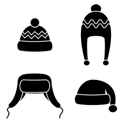 Winter hats set black icons isolated on white background. Knitting headwear and caps for cold weather. Outdoor clothing. Vector illustration