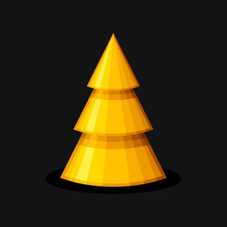 Golden Christmas tree cone shape on black background. Xmas and New Year decorative ornaments. Design Greeting card, Christmas background, poster, banner. Vector illustartion Ilustracja