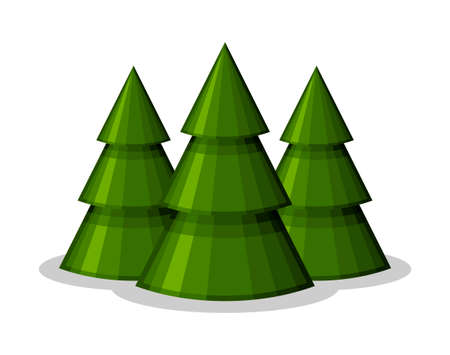 Christmas trees cone shape on white background. Xmas and New Year decorative ornaments. Design Greeting card, Christmas background, poster, banner. Vector illustartion