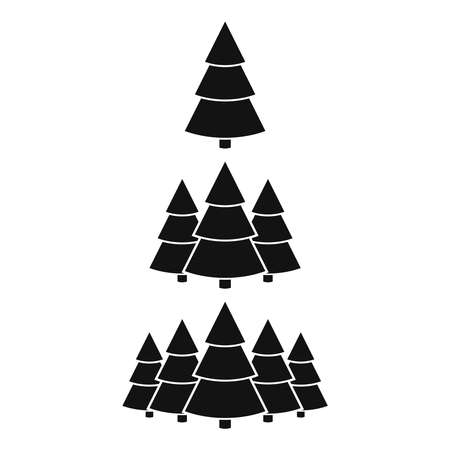 Christmas trees icons set cone shape on white background. Xmas and New Year decorative ornaments. Design Greeting card, Christmas background, poster, banner. Vector illustartion