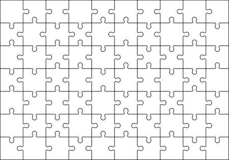 Jigsaws puzzles simple pattern isolated on white, Classic puzzles game element or mosaic part connection. Vector illustration