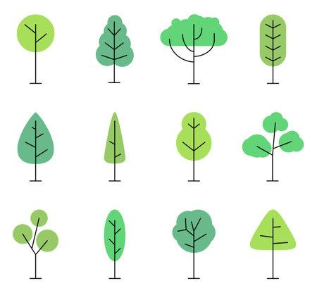 Flat style trees icon set isolated on white background. Forest tree nature plants, Vector illustration Illustration