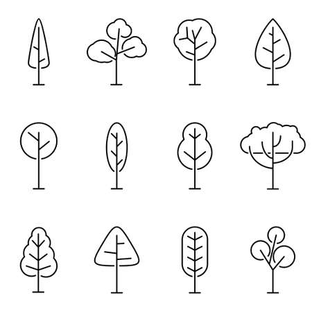 Trees line icon set isolated on white background. Simple and minimalist symbols tree and forest, Vector illustration