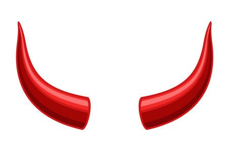 Devil horns isolated on white background, Red devil demon satan horn icon. Monster symbol. Vector illustration Illustration