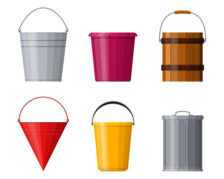 Different buckets set isolated on white background. Steel, plastic and wooden bucket set for gardening, metal container for water and handles trash bin. Vector illustration