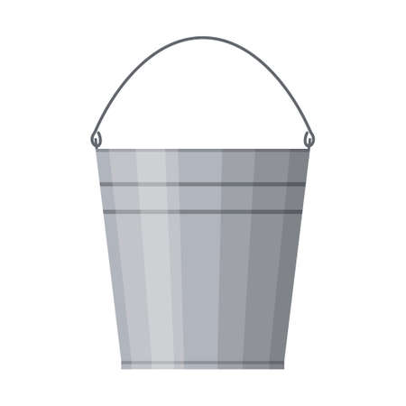 Metal bucket and household isolated on white background, Agriculture work equipment. Steel gardening container. Vector illustration