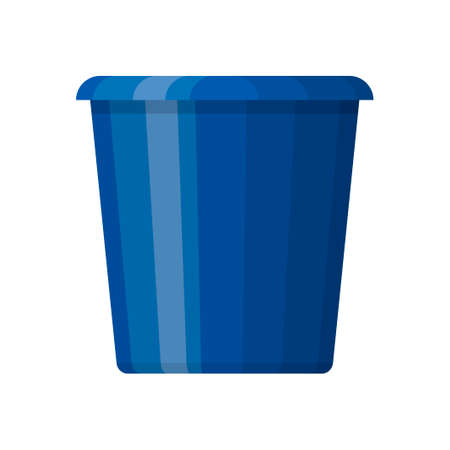 Blue plastic bucket in flat design isolated on white background. House cleaning and gardening equipment. Household accessories. Vector illustration Illustration