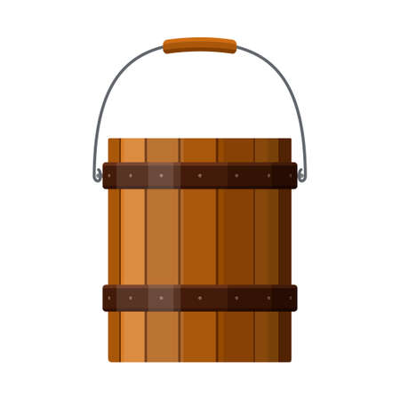 Wooden bucket with handle and metal strapping isolated on white background. Rustic wood pail icon. Vector illustration