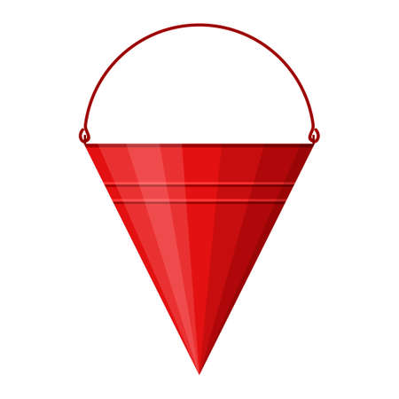 Red cone fire bucket for fire fighting isolated on white background. Bucket for combating small flames. Firefighter equipment. Vector illustration Illustration
